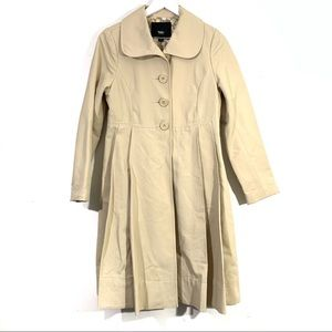 Mossimo Khaki Tan Pleated Trench Coat Jacket